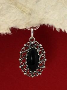 Сребърен медальон филигран - FPK67 - Оникс