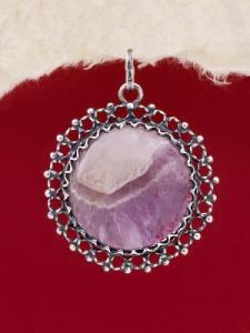 Сребърен медальон филигран - FPK73 - Аметист