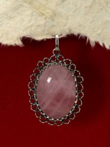 Сребърен медальон филигран - FPK76- Розов кварц