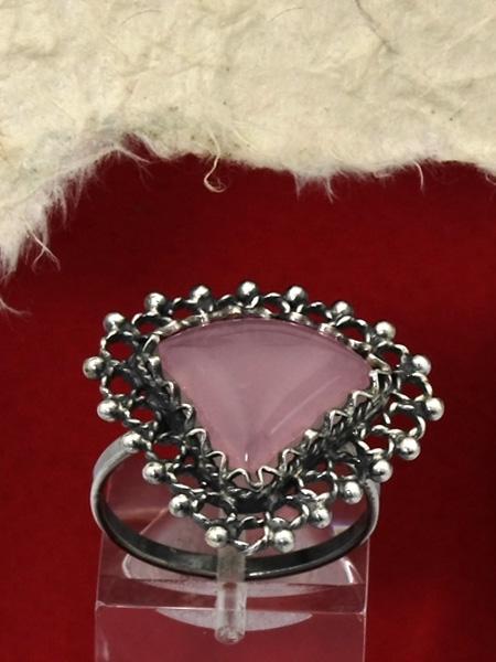 Сребърен пръстен филигран - FRK71 - Розов кварц
