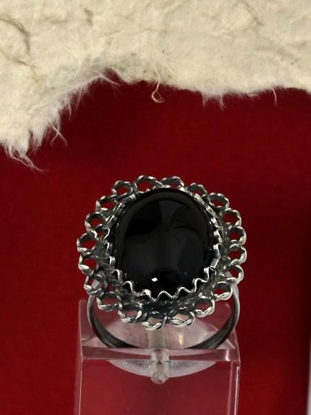 Сребърен пръстен филигран - FRK75 - Оникс