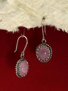 Сребърни обeци филигран - FEK77- Розов кварц