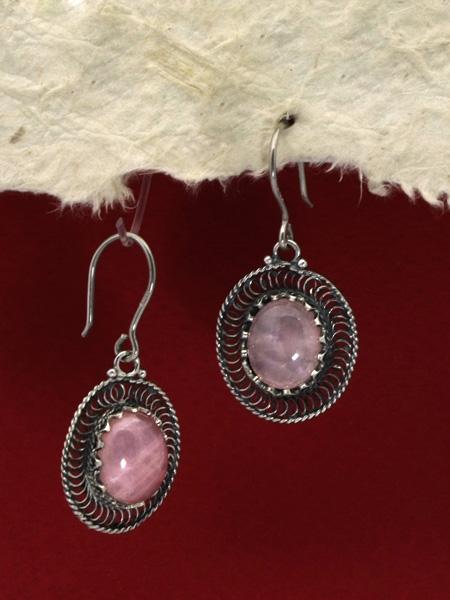 Сребърни обeци филигран - FEK84 - Розов кварц