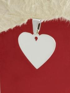 Сребърно сърце с гравиран надпис