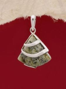 Сребърен медальон PK130 - Зелен мъхов ахат