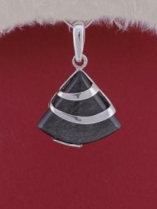 Сребърен медальон PK130 Сребрист обсидиан