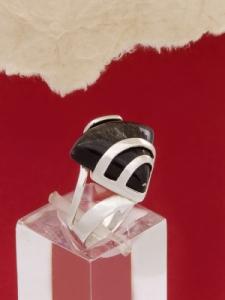 Сребърен пръстен RK130 Сребрист обсидиан