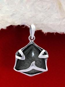 Сребърен медальон PK158 Сребрист обсидиан