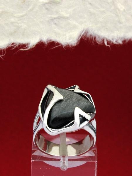 Сребърен пръстен RK158 Сребрист обсидиан