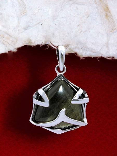 Сребърен медальон PK158 Златист обсидиан.