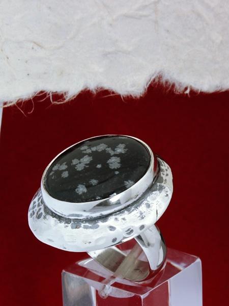 Сребърен пръстен RK3 Снежинков обсидиан