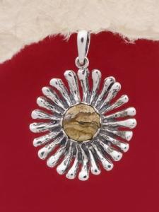 Сребърен медальон PK26-Ахатизирано дърво