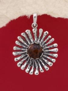 Сребърен медальон PK26 Махагонов обсидиан
