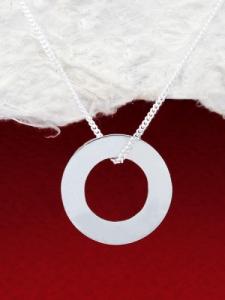 Сребърен медальон - кръг с гравиран надпис