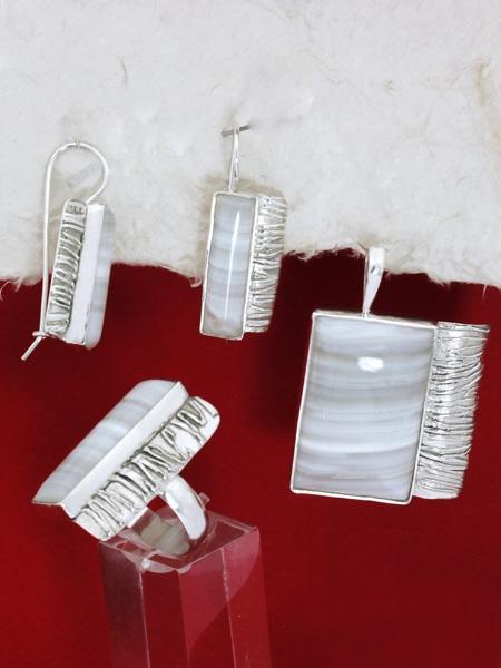 Сребърен комплект уникат - ивичест ахат