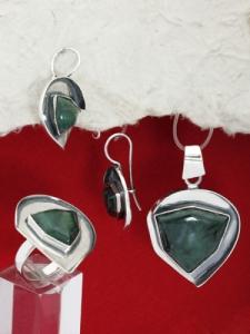 Сребърен комплект уникат с полускъпоценен камък мъхов ахат