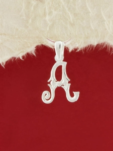 Сребърен медальон буква A - P324