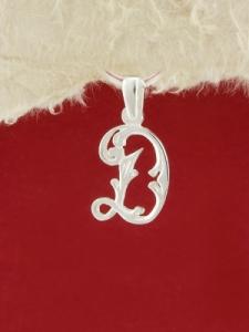 Сребърен медальон буква Д - P324
