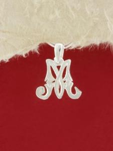 Сребърен медальон буква М - P324