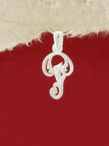 Сребърен медальон буква Р - P324