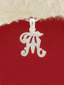 Сребърен медальон буква Т - P324
