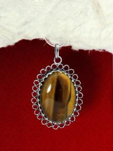 Сребърен медальон - FPK76 - Тигрово око