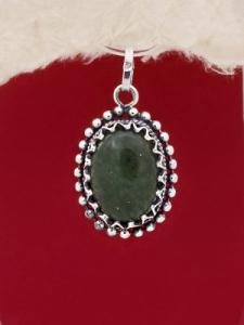 Сребърен медальон - FPK77 - Авантюрин