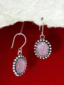 Сребърни обеци - FEK87 - Розов кварц