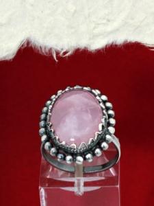 Сребърен пръстен - FRK87 - Розов кварц