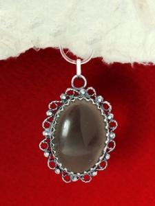 Сребърен медальон - FPK88 - Морион