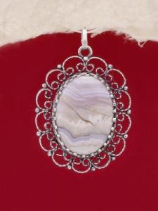 Сребърен медальон - FPK91 - Ивичест ахат