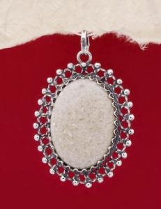 Сребърен медальон - FPK74 - Бял авантюрин