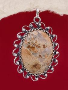 Сребърен медальон - FPK89 - Брекча Яспис
