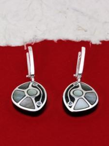 Обеци от рог и сребро - CEK5