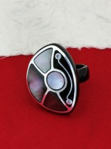 Пръстен от рог и сребро - CRK5