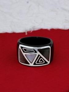 Пръстен от рог и сребро - CRK7