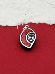 Медальон от рог и сребро - CPK10 Корал