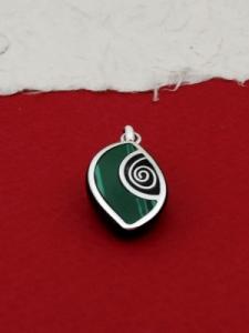 Медальон от рог и сребро - CPK10 Малахит