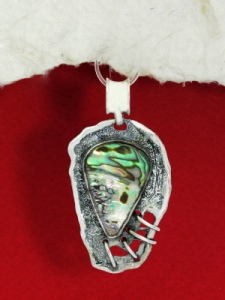 Сребърен медальон със седеф - SP9
