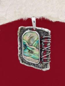 Сребърен медальон със седеф - SPK002