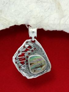 Сребърен медальон със седеф - SP14