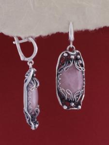 Сребърни обеци - FEK92 - Розов кварц