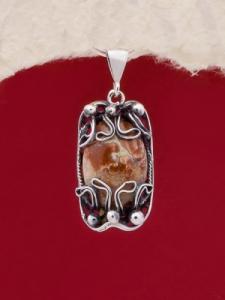 Сребърен медальон - FPK92 - Брекча яспис