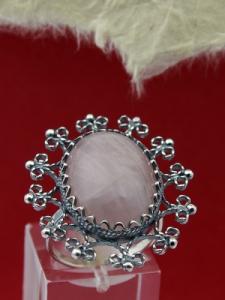 Сребърен пръстен FRK86 - Розов кварц