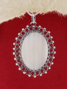 Сребърен медальон FPK74 - Ивичест ахат