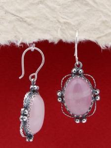 Сребърни обеци FEK94 - Розов кварц