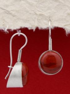 Сребърни обеци - EKWS3A - Червен яспис