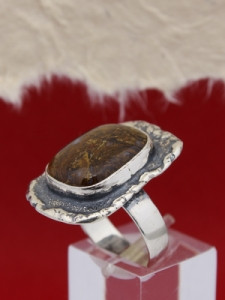 Сребърен пръстен 110285 - Мъхов ахат