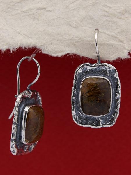 Сребърни обеци 110285 - Мъхов ахат