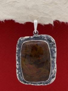 Сребърен медальон 110285 - Мъхов ахат